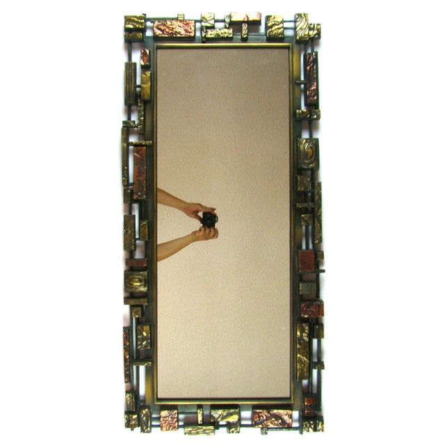 Syroco Paul Evans Style Brutalist Mid-Century Modern Wall Mirror - Image 2 of 9