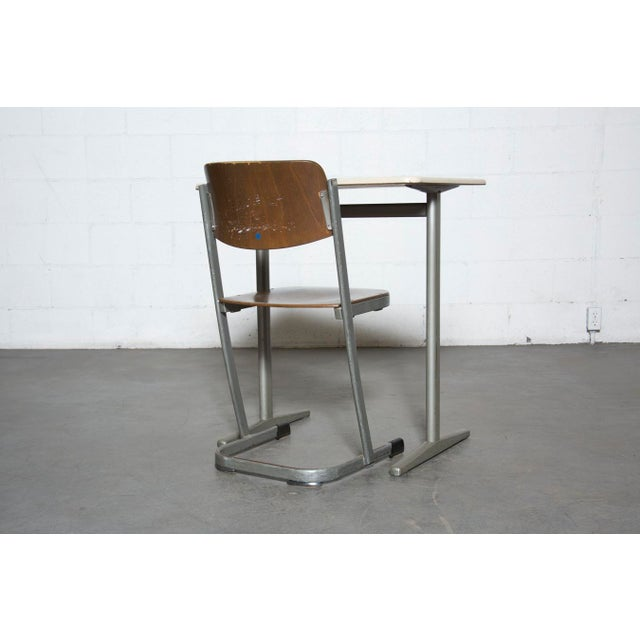 Retro Industrial School Desk and Chair Set - Image 5 of 11