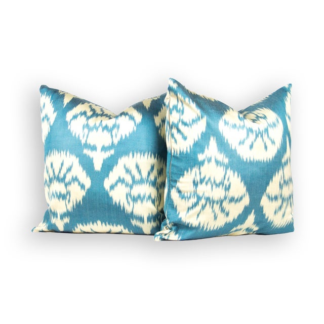 Silk Ikat Pillows in Peacock Blue - Pair - Image 3 of 3