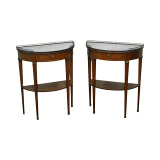 French Directoire Style Mahogany Demilune Marble Top 1 Drawer Nightstands - a Pair