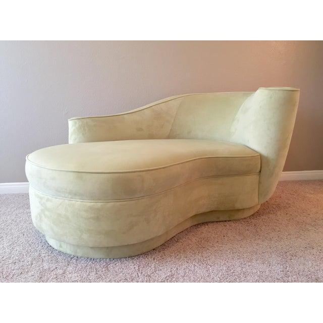 crushed velvet upholstered deco chaise chairish. Black Bedroom Furniture Sets. Home Design Ideas