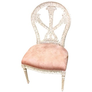 Shabby Chic White Crackle Painted Chair