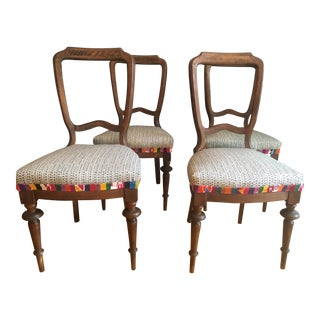 Custom Upholstered Antique Chairs - Set of 4
