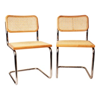 Marcel Breuer Mid Century Modern Caned Cesca Chairs - a Pair