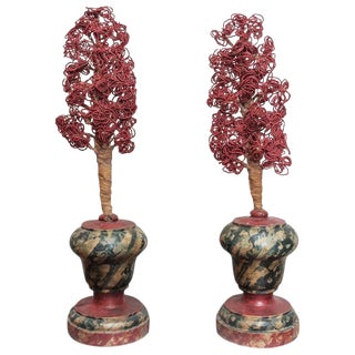 18th Century Faux Marble FInials with Coral Colored Flowers