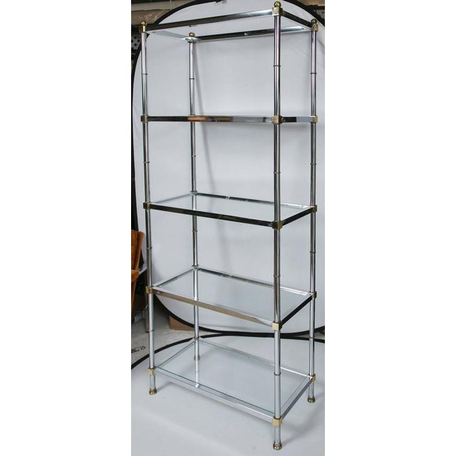 Maison Jensen Style Brass and Chrome Etagere - Image 4 of 7