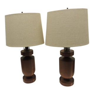 Mid-Century Modern Wood Table Lamps - A Pair
