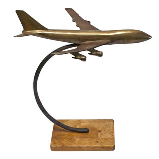 Trench Art Solid Brass Airplane on Stand