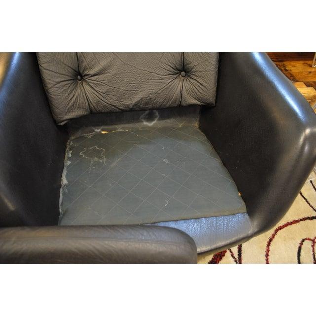 Image of Mid-Century Swedish Black Swivel Lounge Chair