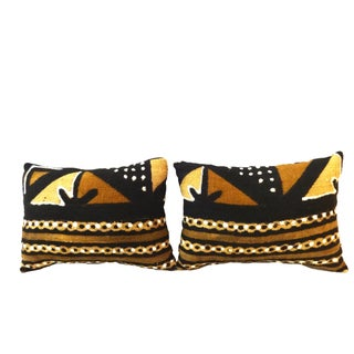 Mud Cloth Bogolan Bambara Lumbar Pillows - A Pair