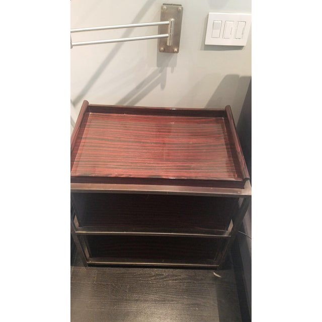 Image of Industrial Side Tables With Trays - A Pair