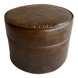 Vintage Vinyl Footstool in Chocolate