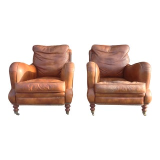 Down-Filled Leather Club Chairs - A Pair