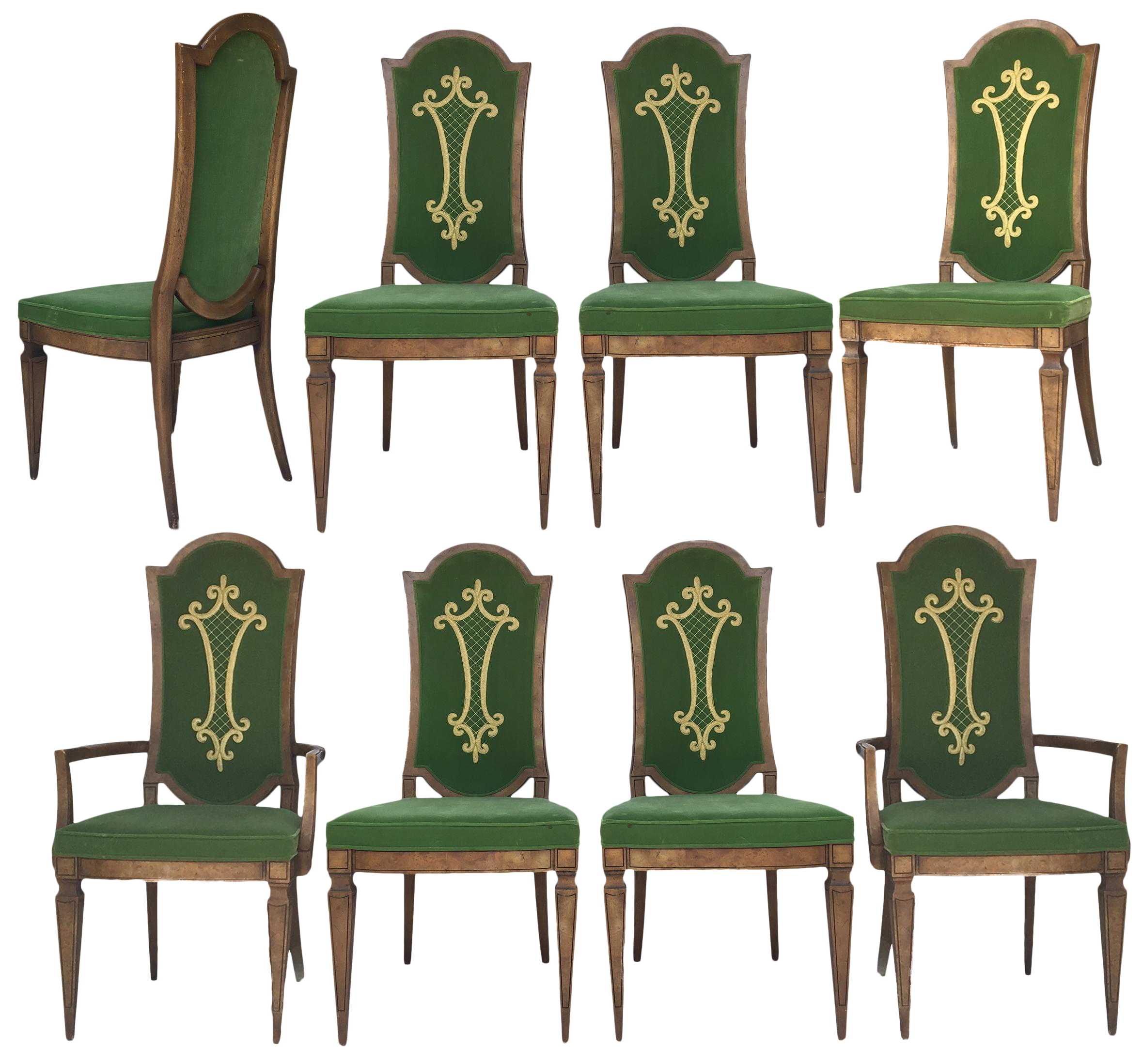 Dorothy Draper For Heritage Green Velvet With Embroidery Dining Chairs  Set  Of 8   Image