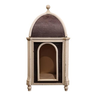 French Carved Hand-Painted & Leather Dog House With Dome Top