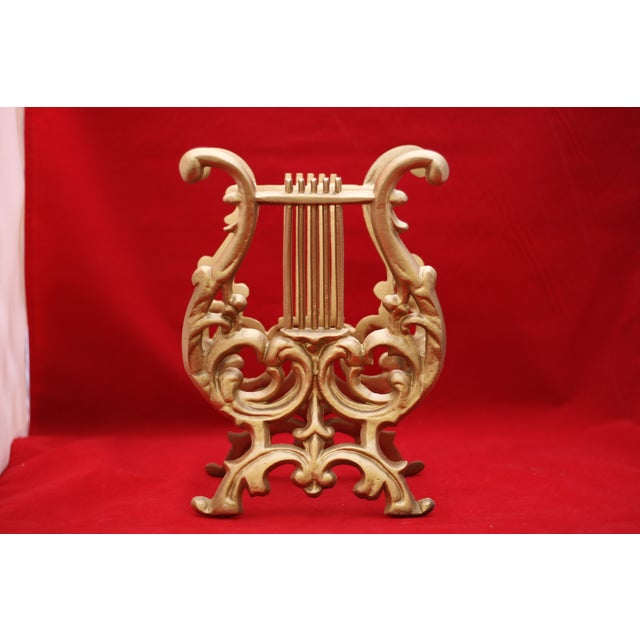 Vintage Gold Cast Metal Footed Lyre Stand - Image 3 of 6