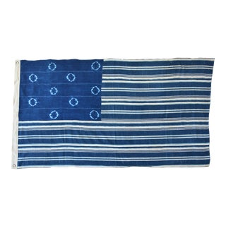 Custom Tailored Blue & White Flag Created From African Textiles