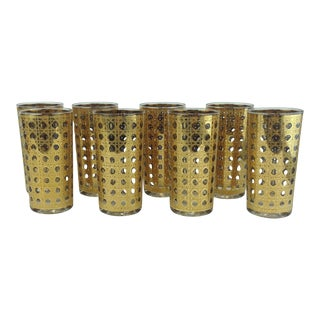 Culver Cannela Gold Lattice High Balls Glasses - 8