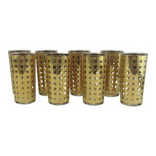 Culver Cannela Gold Lattice High Balls Glasses - 8