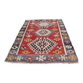 Vintage Turkish Kilim Rug - 5′12″ × 9′4″