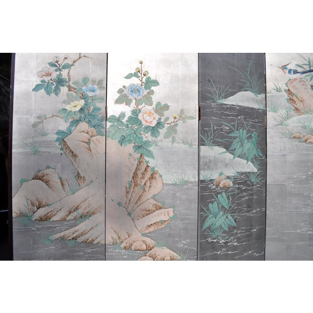 Vintage Chinoiserie Hand Painted Folding Screen - Image 7 of 7