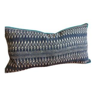 "Indigo Batik Hmong Textile Pillow with Pompom - 23"" x 13"""