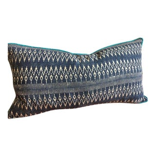 "Indigo Batik Hmong Textile Pillow with Pompom - 23"" x 13"""