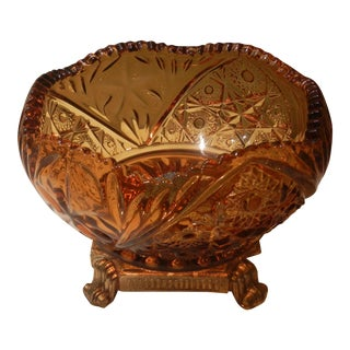 Antique Amber Cut Glass Centerpiece Bowl