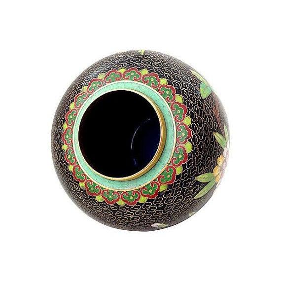 Image of Black Cloisonné Ginger Jar