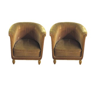 Paul Follot Pair of Lacquer and Gilt Sculpted Club Chairs