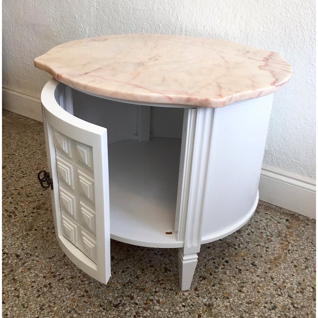 Image of Vintage White Round Pink Marble Top End Table