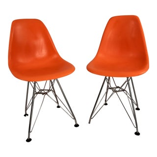 Children's Orange Molded Plastic Eiffel Side Chairs After Eames - A Pair