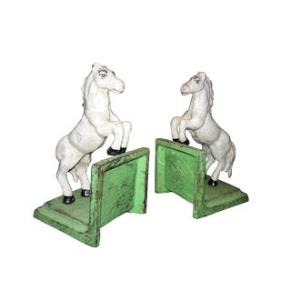 White Stallion Cast Iron Bookends - A Pair
