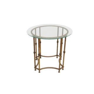Vintage Chinoiserie Gold Metal Faux Bamboo Side Table