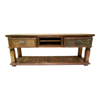 Rustic Console Table Eco-Friendly Reclaimed Solid Wood
