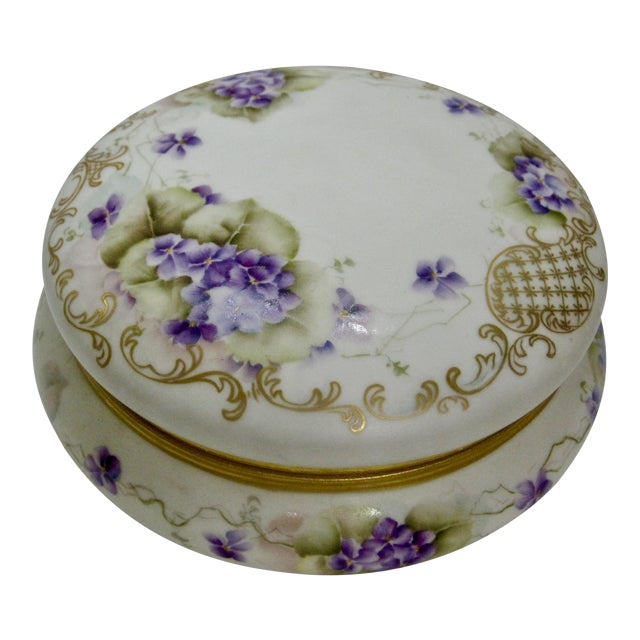 Antique Limoges France Hand Painted Violets & Gilt Box - Image 1 of 7