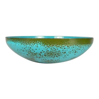 Hanova of Pasadena Teal Blue Enamel Console Bowl