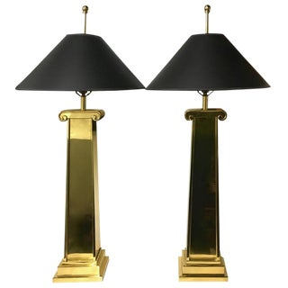 Brass Ionic Column Lamps - A Pair