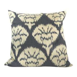 Black Woven Silk Ikat Pillow
