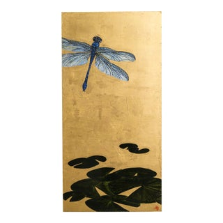 A Large Goldleafed Panel titled Dragons on Golden Pond by Lily Lewis