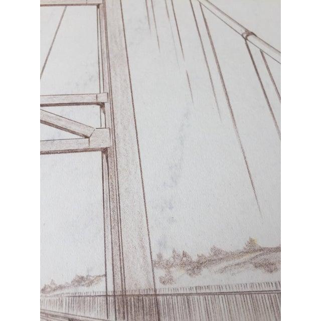 Mid-Century Golden Gate Bridge Architectural Sketch - Image 4 of 9