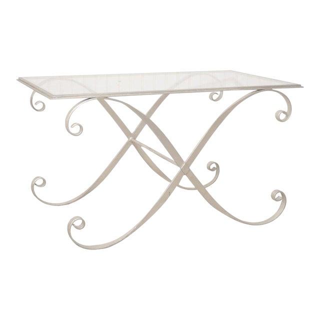 Vintage Hollywood Regency Neoclassical Silver Gilt Metal Coffee Table - Image 1 of 10