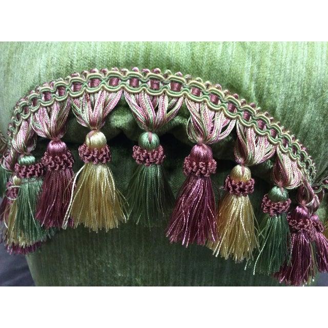 Green Velvet Tassel Ottoman Chairish