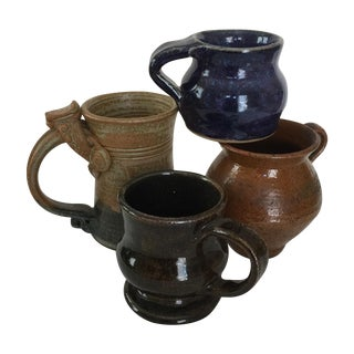 Vintage Pottery Mugs - Set of 4