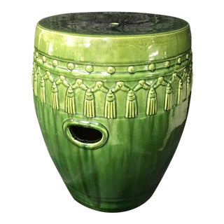 Green Glaze Tassel Garden Stool