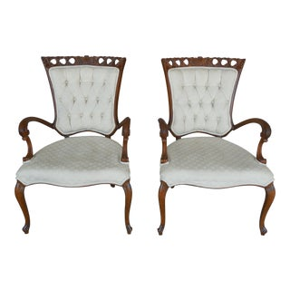 French Louis XV Style Rococo Carved Accented Arm Chairs - a Pair