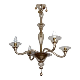 Italian Mid Century Venini Amber Murano Glass Chandelier
