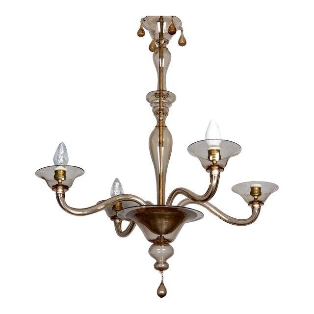 Image of Italian Mid Century Venini Amber Murano Glass Chandelier