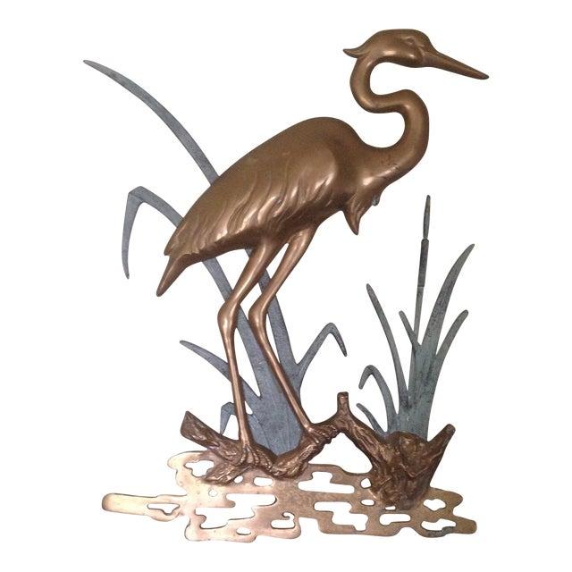 Large Vintage Brass Heron Wall Hanging - Image 1 of 11