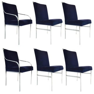 Set of Six Pierre Cardin Dining Chairs in the style of Milo Baughman